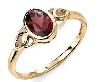 Celtic Garnet Ring * 9ct Yellow Gold * Celtic Birthstone Ring * Celtic Knot * Irish Ring * Celtic Knot Jewelry * Birthstone Ring *