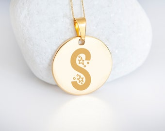 Personalised 9ct Yellow Gold Initial 'S' Alphabet Pendant Necklace