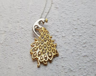 Personalised Peacock Necklace * Sterling Silver * Peacock Pendant * Peacock Jewelry * Peacock Gift * 18ct Gold Vermeil