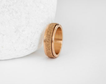 Stainless Steel Spinner Ring with Sandblasted Rose Gold Finish