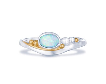 Sterling Silver Sky Blue Opal Ring for Women * Personalized With Up To 40 Characters * Organic Gemstone Ring *