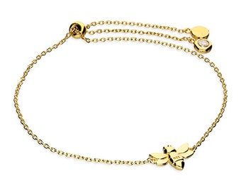 Personalized 18ct Yellow Gold Bumble Bee Bracelet for Women * Honey Bee Insect Adjustable Bracelet Design