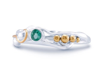 Sterling Silver Green Emerald Ring for Women * Personalized With Up To 40 Characters * Organic Gemstone Ring *