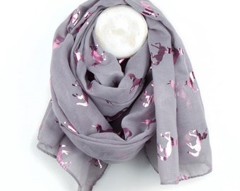 Personalised Soft Grey Scarf with Metallic Pink Unicorn Print - 70cm x 180cm