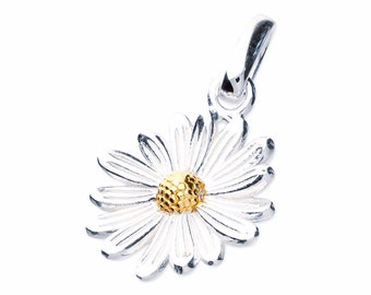 Sterling Silver and 18ct Gold Daisy Necklace for Women or Girls * Personalized with 40 Characters * April Flower Nature Pendant Design