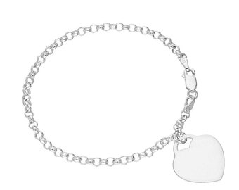 7in Bracelet with Engravable Heart * Sterling Silver