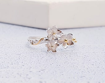Personalized Sterling Silver and 14ct Gold Flower Ring for Women or Girls * Nature Ring Design