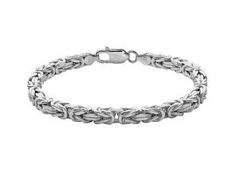 9in Sterling Silver Handmade Byzantine Bracelet Chain for Men or Women - Can be Personalized