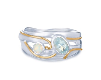 Personalized Sterling Silver Sky Blue Topaz and White Opal Ring for Women - October and November Birthstones