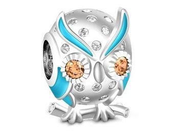 Owl Charm Bead * Sterling Silver * 4.5mm Inner Diameter * Fits most European Charm Bracelets
