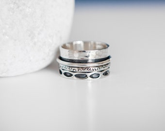 UK T | 9.5US | EU61 Sterling Silver Spinner Ring with Mixed Texture Bands