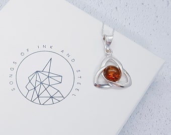 Personalized Sterling Silver Celtic Knot Triquetra Necklace for Men or Women * Heritage Amber Gemstone Pendant Design