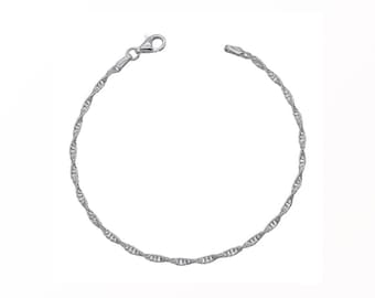 7.5 inch Rope Chain Bracelet * Solid Sterling Silver * Best for Women, Girls