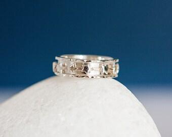 UK R | 8.5US | EU59 Sterling Silver Star Spinner Ring for Women