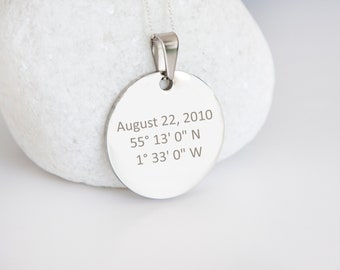 Personalised Sterling Silver Coordinates and Date Coin Pendant Necklace