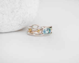 Sterling Silver Organic Ring with Blue Topaz and White Opal Gemstones on a Silver Band