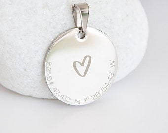 Personalised Sterling Silver Coordinates and Heart Coin Pendant Necklace