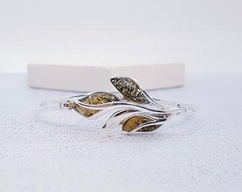 Personalized Sterling Silver and Green Amber Bangle Bracelet for Women *  Baltic Amber Gemstone Leaf Bracelet