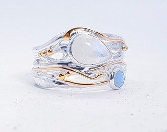 Opal and Rainbow Moonstone Ring