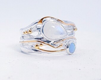 Sterling Silver Moonstone and Blue Opal Ring for Women * Personalized With Up To 40 Characters * Organic Gemstone Ring *