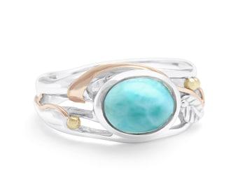 Personalized Sterling Silver Blue Larimar Gemstone Ring with Leaf Design