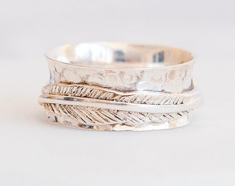 Sterling Silver Spinner Ring for Women * Personalized With Up To 10 Characters * Wide Band * Custom Thumb Ring * Feather Pattern *