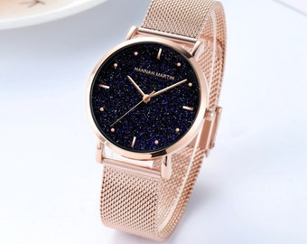 Personalised Rose Gold Watch with Black Sparkle Star Dial