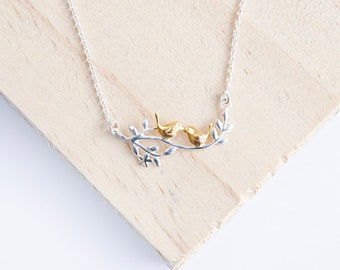 Personalized Sterling Silver and 14ct Gold Love Birds Necklace for Women * Two Birds on Branch Bird Pendant Design