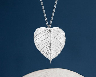 Personalised Sterling Silver Poplar Aspen Leaf Pendant Necklace