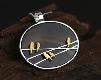 Personalised Birds on the Wire * Sterling Silver * Bird Pendant * Bird Jewelry * Bird Gift * Bird Necklace * Woodland Bird * Gilded Birds