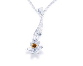 Sterling Silver and 18ct Daffodil Necklace for Women or Girls * Personalized with 40 Characters * Nature Flower Pendant Design