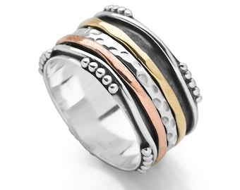 Sterling Silver Spinner Ring for Women * Personalized With Up To 10 Characters * Wide Band * Custom Thumb Ring * Bali Style Design *