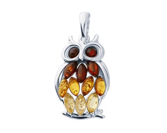 Sterling Silver and Amber Owl Necklace for Men or Women * Personalized with 40 Characters * Baltic Amber Barn Owl Pendant Design