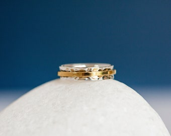 Sterling Silver Slim Spinner Ring with Brass Band