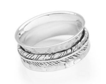 Straight Feather Spinner Ring * Sterling Silver * Boho Ring * Anxiety and Meditation Ring * Worry, Spinning Jewelry * Spin, Fidget Ring