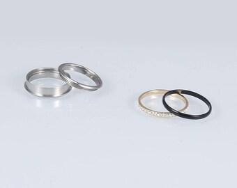Stainless Steel Spinner Ring Starter Set for Men or Women * 6mm Black and Yellow Gold Sparke Starter Set