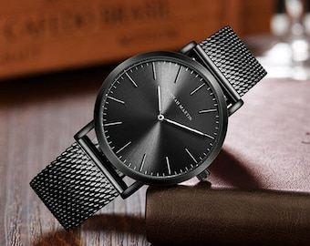 Personalised Black Watch with Black Dial