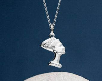 Personalised Sterling Silver Egyptian Queen Nefertiti Pendant Necklace