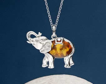 Personalised Sterling Silver and Honey Amber Gemstone Elephant Pendant Necklace