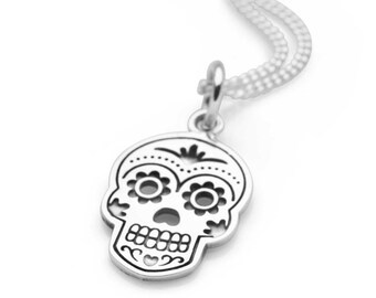 Personalised Sugar Skull Necklace * Sterling Silver * Day of the Dead Pendant * Rockabilly Jewelry * Skull Jewelry * Silver Skull * 50's
