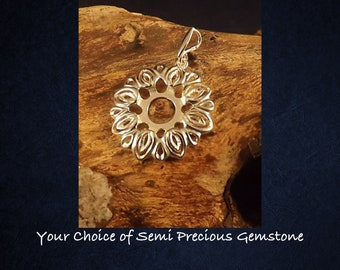 Sterling Silver Flower Pendant Necklace * Choice of 10mm Semi Precious Gemstone *