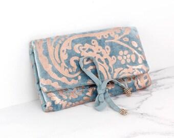 Personalised Aqua Velvet and Rose Gold Paisley Jewellery Wrap