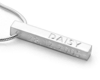 Personalised Bar Necklace * Sterling Silver * Personalised Jewelry * Hand Stamped * Engraved * Custom Family * Brushed or Polished