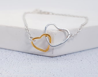 Personalized Sterling Silver and Brass Linked Love Hearts Bracelet for Women * Two Hearts of Love Bracelet Jewelry