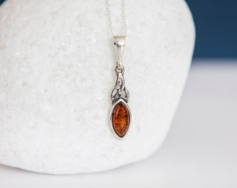 Sterling Silver Marquise Amber Celtic Knot Pendant Necklace