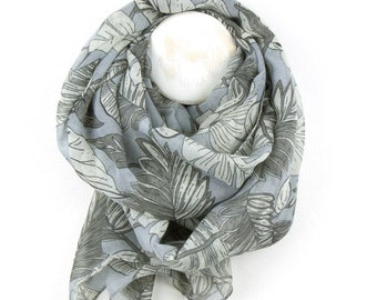 Personalised Pale Grey Scarf with Ivory and Mid Grey Multi Leaf Print - 90cm x 180cm