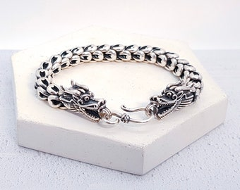 Sterling Silver Chinese Dragon Bracelet for Men or Women * Fantasy and Mythology Bangle Design