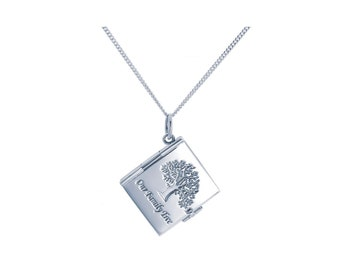 Sterling Silver Book Locket Necklace * Personalized with 30 Engraved Characters * 6 Picture Photos * Memorial Keepsake * Mourning Charm *