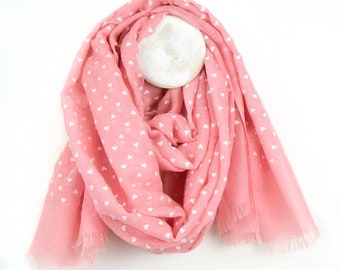 Personalised Salmon Print Scarf with White Heart Print - 70cm x 180cm