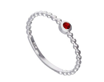 Personalized Sterling Silver and Ruby Cubic Zirconia Beaded Stacking Ring - July Birthstone